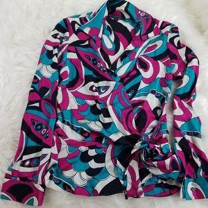 Lafayette 148 silk colorful wrap shirt size 8